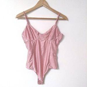 pink shiny corset top bodysuit with bottom snaps